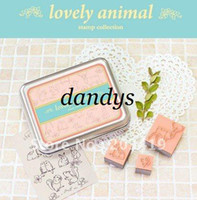 Wholesale Wholesale Wooden Animals Stamps - wholesale retail Wooden lovely animal cartoon vintage Antique Stamps seal collection diary gift craf