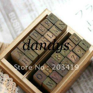 top popular wholesale Wooden vintage block Creative letters Antique Alphabet Stamps upper lower case seal diary 2021