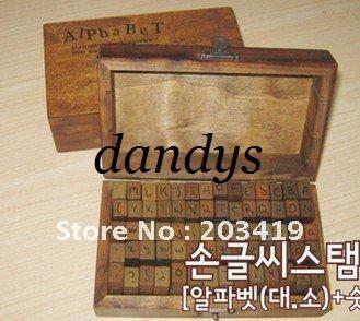 Groothandel houten vintage blok letters antieke alfabet nummers leeking stempels handschrift agenda stempel set