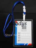 Wholesale Plastic Badges Straps - wholesale multi color Vertical Neck Strap lanyard sling ID Badge Holders PVC name card case certificate
