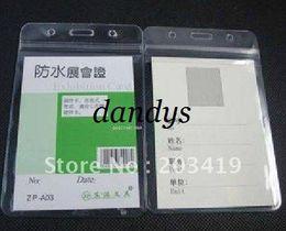 Vertical Plastic Badge Holder Canada - Wholesale retail mulit Vertical soft Waterproof ID Badge Holders PVC name plastic card case certificate