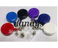 Wholesale Retractable Key Card Clip - wholesale retail ID holder name tag card key Badge Reels Round Solid Plastic Clip-On Retractable pul