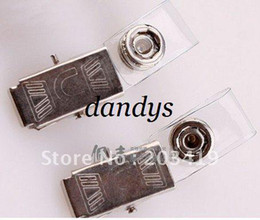 Wholesale Vinyl Card - wholesale retail Vinyl clear Spring Clip On Name Tag ID Badge Photo Metal Strap Card Holder for Trade