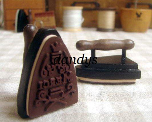 top popular wholesale retail Wooden vintage Antique flatiron mini Stamps seal stamper DIY diary carved gift deco 2021