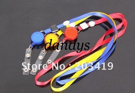 Wholesale multi color Neck Strap tag lanyard+Badge reel ID Card Cell Phone key Round Clip-On Retract