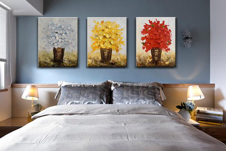 Modern flower oil painting canvas thick oil abstract for Wall paintings for office