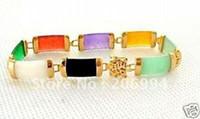 "Wholesale Multicolor Jade Bracelet - Wholesale new arrive Noble Charming Chinese Multicolor jade bracelet Chains 7.5"" fashion jewelry"