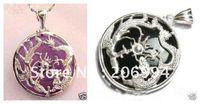 dragón de joyas de jade de plata al por mayor-Joyería de jade real Púrpura jade negro dragón de plata phoenix niña collar colgante 2pc / lot cadena libre del envío libre