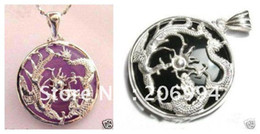 Wholesale Girls Dragon Jewelry - real jade jewelry Purple black jade silver dragon phoenix girl pendant necklace 2pc lot free shipping free chain