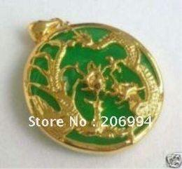 Wholesale Dragon Phoenix Jewelry - real jade jewelry green Jade Inlay Dragon Phoenix Pendant Necklace 2pc lot free shipping free chain