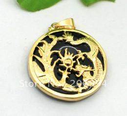 Wholesale Dragon Phoenix Jade Pendant - real jade jewelry Christmas Exquisite black jade inlay dragon phoenix pendant Necklace 2pc lot free shipping free chain