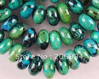 "Wholesale Azurite Chrysocolla Beads - new arrive 5x8mm Azurite Chrysocolla Gemstones Roundel Loose Beads 15"" 2pc lot fashion jewelry"