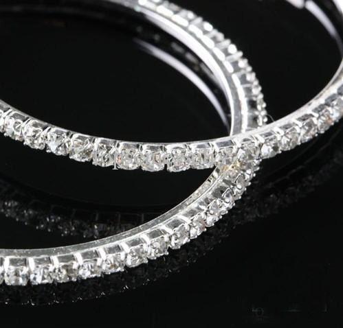 Big Circle Lady's Basketball Wives Hoop Örhängen med Crystal Rhinestone Dangle Earring 50mm 15 par