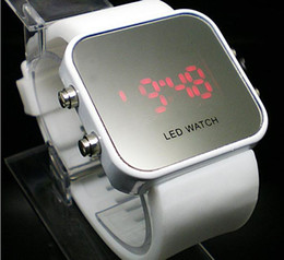 Wholesale Ladies Silicone Watches Wholesale - 2017 New Fashion White Luxury Sport Style Digital LED Watch Mirror Surface Silicone for Lady &Men Free Shipping 12 pcs