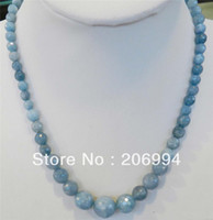 "Wholesale Round Faceted Aquamarine Beads - free shipping new arrive 6-14mm Brazilian Aquamarine Faceted Gems Round Beads Necklace 18"" 2pc lot fashion jewelry"