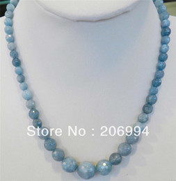 "Wholesale Necklace Brazilian - free shipping new arrive 6-14mm Brazilian Aquamarine Faceted Gems Round Beads Necklace 18"" 2pc lot fashion jewelry"