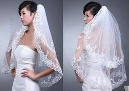Wholesale Dresses Embroidery Lace - Hot Sale In Stock Elegant White Wedding Bridal Veil 2T for Wedding Dress Embroidery Edge New