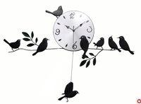 Wholesale Wall Craft Clocks - Mute Quartz Little Bird Wall Clock Home Decorative Craft