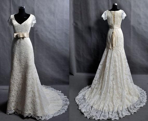 Vintage Wedding Dresses Cheap: Discount Custom Make Vintage Lace Wedding Dress Bridal