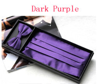 Wholesale Purple Cummerbund - 2017CC purple Men's dress Cummerbund Elegant Bow girdle + bow tie + pocket towel + Gift Set Decoration