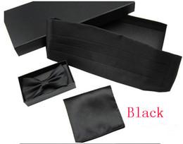 Wholesale Bowtie Hanky Set - 2017VV black gift set hanky cummerbund bowtie ceremonial belt solid color Girdle Pocket towel corset tower