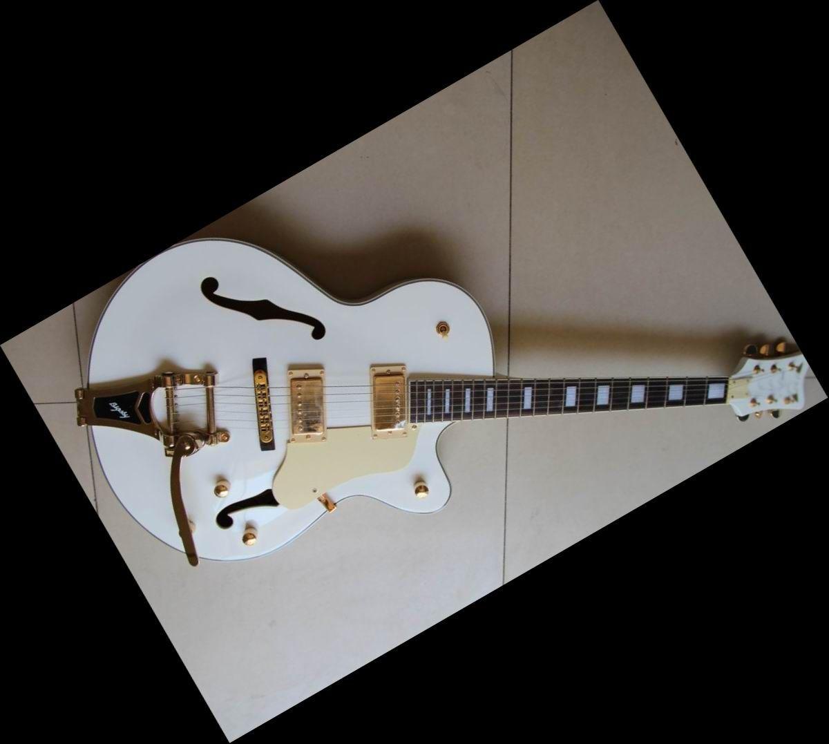 Huge White 6120 Jazz Hollow Body Electric Guitar Gold Hardware ...