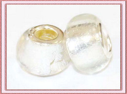 Wholesale Silver Foil Glass Beads - 10PCS STERLING 925 SILVER LAMPWORK WHITE FOIL CHARM MURANO GLASS BEADS CHARMS FOR EUROPEAN BRACELET