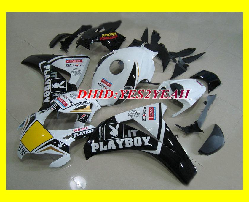 Vit Svart Fairing Body Kit för Honda CBR1000RR CBR 1000 RR 2008 2009 CBR 1000RR 08 09 CBR1000 Insprutning Mögel Fairings Set + Presenter