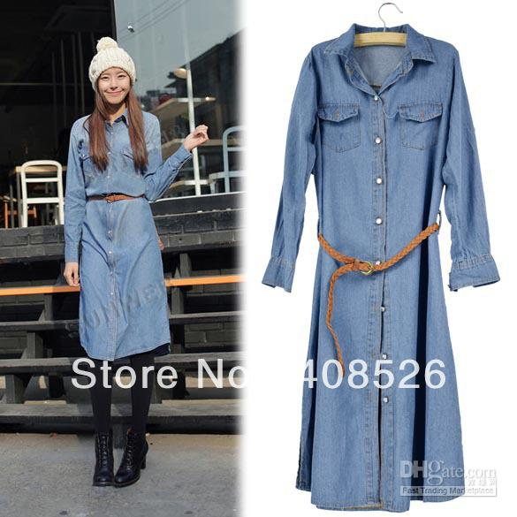 Best 2013 Fashion Women's Long Sleeve Shirt Denim Dress Jean Long ...