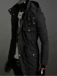Wholesale Korean Men Jacket Free Shipping - free shipping 2013 New Cotton Hooded Coat Korean Trend in long jacket men coat