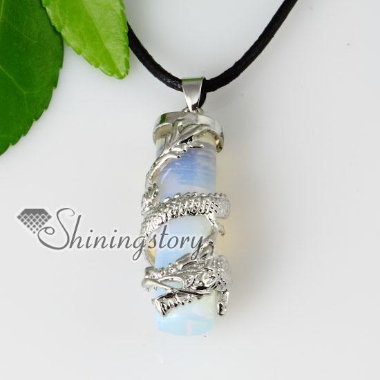 Wholesale Cylinder Dragon Stone Pendant Necklace Handmade