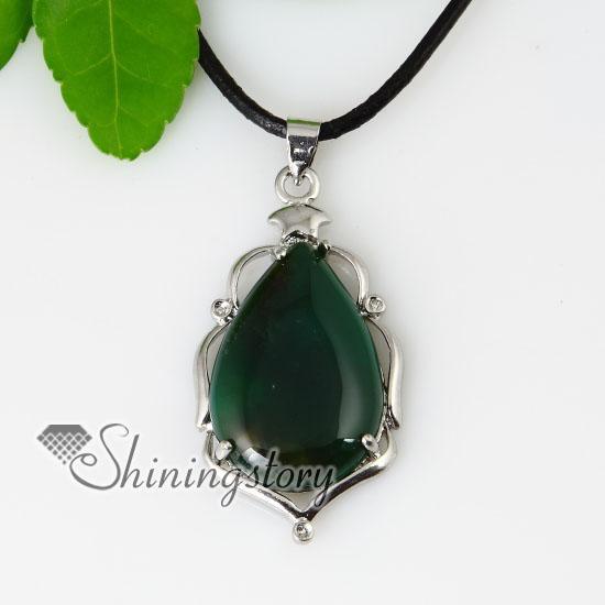 19debc8476f73a teardrop semi precious stone amethyst tiger's-eye glass opal rose quartz jade  necklaces pendants gemstone jewelry wholesale Spsp50022-