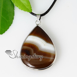 handmade semi precious necklaces 2019 - teardrop semi precious stone agate necklaces with pendants jewelry Spsp50030 cheap china fashion jewerly handmade pendna