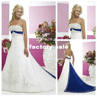2017 vintage style embroidery on satin white and royal blue floor length wedding dresses custom made bo5759