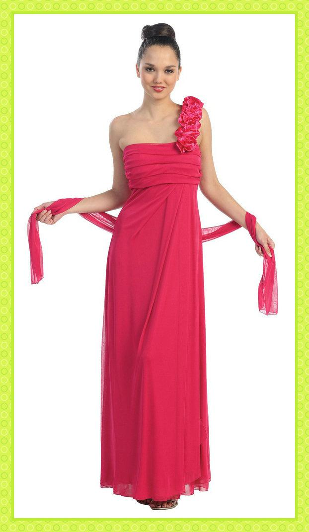 2013 Hot Wrap Long Floral One Shoulder Watermelon Red