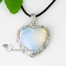 Wholesale Genuine Turquoise Jewelry Wholesale - heart semi precious stone glass opal turquoise rose quartz jade necklaces pendants Spsp70071 genuine stone jewelry natural stone pendant