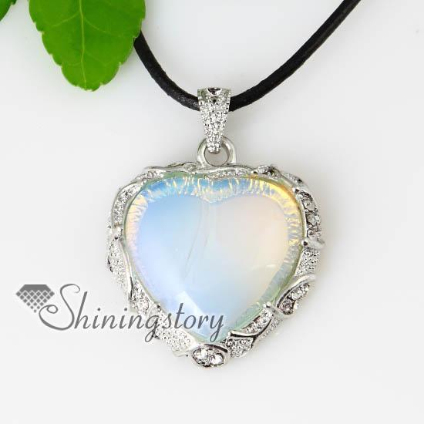 heart semi precious stone glass opal turquoise rose quartz jade necklaces pendants Spsp70071 genuine stone jewelry natural stone pendant