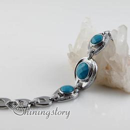 Joyería conmuta online-Nueva piedra semipreciosa redonda ágata turquesa encanto alternar pulseras joyería Spsb18005 joyería hecha a mano de moda