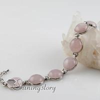 Wholesale Cheap Glasses Stones - round semi precious stone agate rose quartz turquoise glass opal charm toggle bracelets jewelry Spsb80014 cheap jewelery
