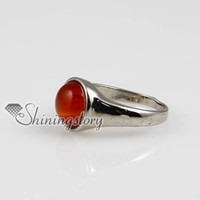 Wholesale semi bezel ring resale online - round semi precious stone natural agate finger rings jewelry Cheap china jewelry fashion jewelry Spsr5004