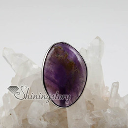 Wholesale Precious Stones Rings - oval semi precious stone natural rose quartz amethyst tiger's-eye finger rings Spsr6010 semi precious stone jewelry