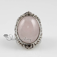 Wholesale Cheap Amethyst Jewellery - oval semi precious stone natural rose quartz tiger's-eye amethyst finger rings jewelry Spsr7008 cheap china fashion jewellery