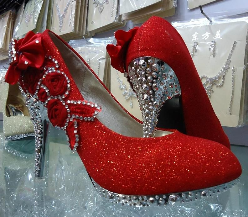 2013 Bridal High-heeled Shoes Red Gold Silver Women's