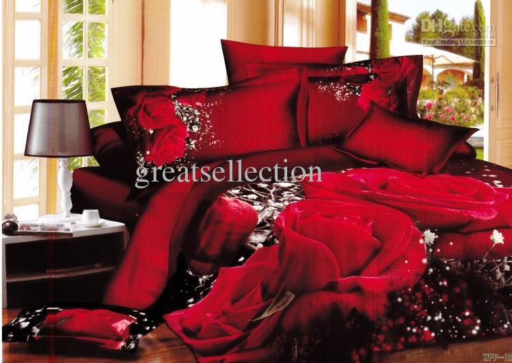 Hot Selling 3d Red Rose Floral Queen King Size Bedding