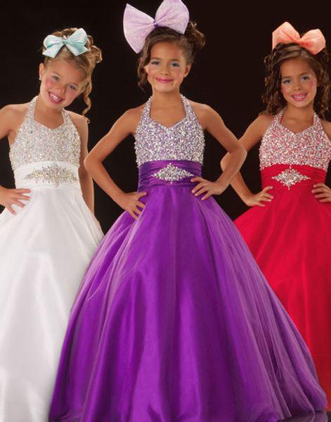 Brilhante Roxo Branco Vermelho Azul Tule Halter Flower Girl Vestidos Das Meninas do Pageant Vestidos de Aniversário Vestidos de Festa Personalizado SZ 2-14 TF114060