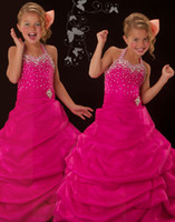 Lovely Fushcia Halter Flower Girl Dresses Girls' Formal Dres...