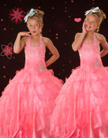 Lovely Pink Halter Layers Flower Girl Dresses Girls' Formal ...