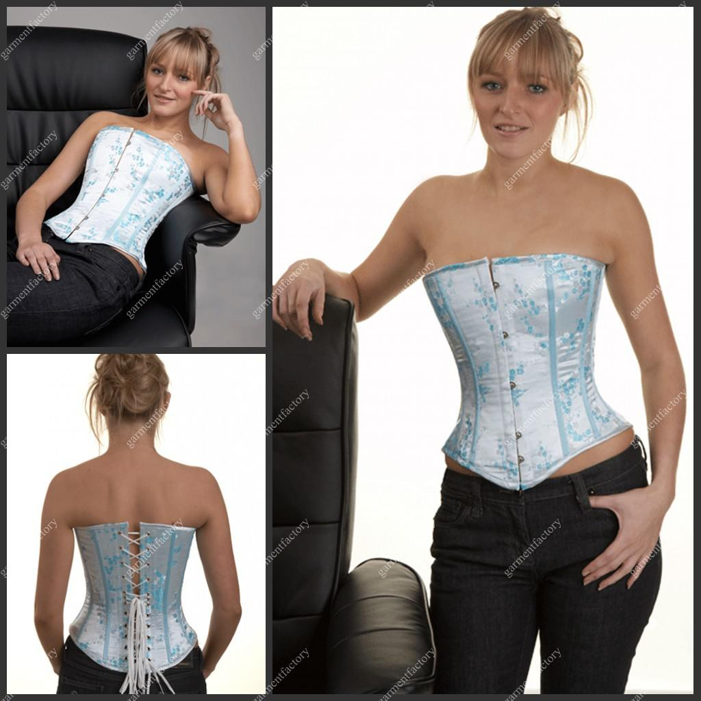 Wedding Gown Bustier: Boned Lace Up Baby Blue Lace Appliqued Bridal Corset