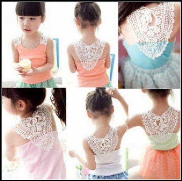 best selling EMS Free Girl's Vest Singlet Summer top Fashion Hollow Shoulder strap vest candy Sleeveless t-shirt