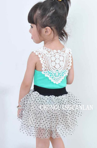 best selling 10P Lot Girls Vest Baby Vest Girl T-shirt T-short Back Hollow-carved Lace Pink Blue White Tops 2-10T